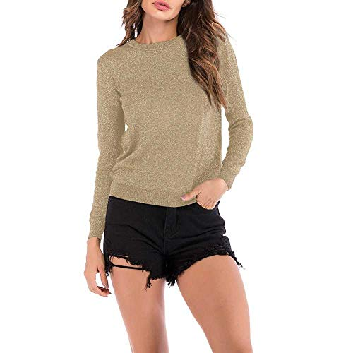 nobrand Herbst Winter Pullover Frauen Langarm Pullover Rundhalsausschnitt Frauen Basic Sweaterkoreanische Glitzer Strickoberteil