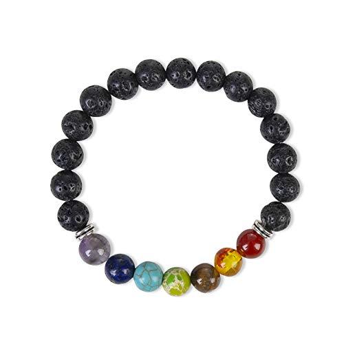 Black Lava Rock 8mm Beads 7 Chakra Healing Balance Bracelet for Men Women Reiki Prayer Stone Yoga Chakra Bracelet
