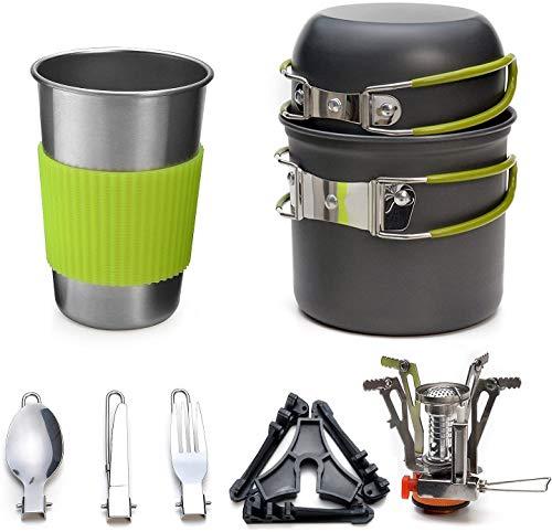 Camping Kochgeschirr Se Camping-Kochtopf Set aus Edelstah 11-tlg Kochausrüstung für Outdoor Wandern Picknick | FDA Genehmigte Topf & Pfanne aus Aluminium und Edelstahl