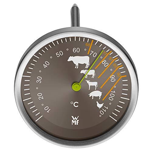 WMF Fleischthermometer analog 6,3 cm, Bratenthermometer mit Garpunkte-Markierungen für Steak Rind Kalb Lamm Schwein Geflügel, Sonde bis 110°C
