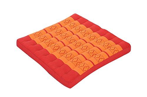 Handelsturm Thai Sitzkissen 50x50, Auflage mit hochwertiger Füllung aus Kapok, Thaikissen Sitz Burgunder orange rot, quadratisches Bodenkissen