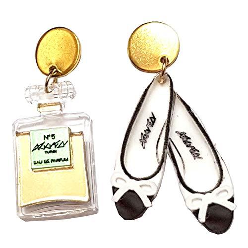 VIALESCARPE - Pendientes colgantes artesanales Arky Fly de plexiglás de colores, realizados con láser. Bailarinas y perfume n.º 5. Mujer. Blanco negro y dorado. Uni