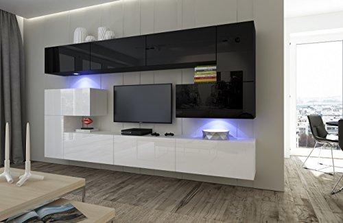 HomeDirectLTD Moderno Conjunto de Muebles para salón Albania combinación Blanco/Negro Brillante (AN3-17WB-HG22-1A, RGB LED)