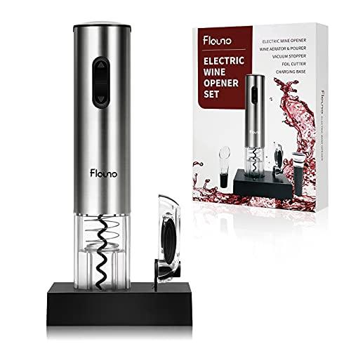 Flauno Cavatappi Elettrico Ricaricabile - Apribottiglie Elettrico Professionale con Taglia-Capsule | Tappo Sottovuoto per Vino | Versatore per Vino e Base di Ricarica | Idea Regalo