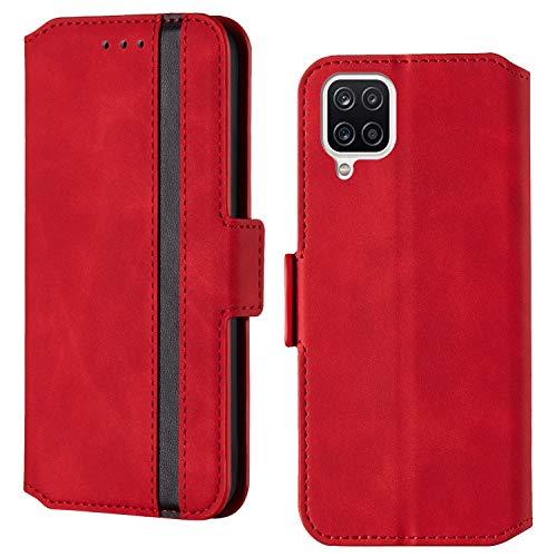ARRYNN Handyhülle für Samsung Galaxy A42 5G Hülle,Lederhülle Samsung Galaxy A42 5G Flip Cover,Premium Schutzhülle Magnet Ledertasche für Samsung Galaxy A42 5G (R-Rot)