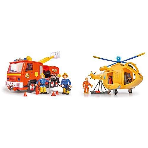 Simba 109251038 - Sam Jupiter Feuerwehrauto 2.0 / Mit Sam und Elvis Figur / mit Licht und Sound & 109251002 - Feuerwehrmann Sam Hubschrauber Wallaby II