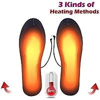 Womdee Plantilla de Calentamiento USB, 2019 Nuevo Plantillas de Zapatos con calefacción eléctrica Plantillas de Zapatos calefactables de Corte Lavable Fibra elástica EVA
