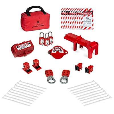 TRADESAFE Professional Lockout Tagout Kit for Gate Valves, Ball Valves, Electric Plugs, Electrical Circuit Breakers. w/ 3 Red Padlocks, 2 Hasps, 5 Safety Lock Out Tags from TradeSAFE