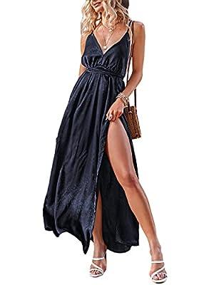 BerryGo Women's Prom Deep V Neck Backless Split Maxi Formal Bridesmaid Dress Navy Blue S