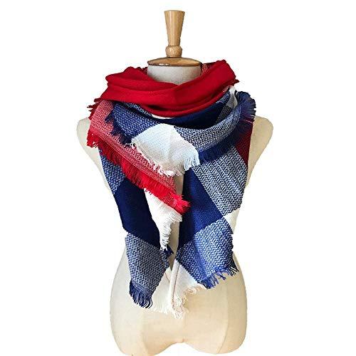 HUAHUA bufandas Caliente del otoño y del invierno bufandas, Pañuelo-mantón de la bufanda del babero del mantón Capa a cuadros grandes de colorido toalla cuadrada Triángulo Capa doble cara de la tela e