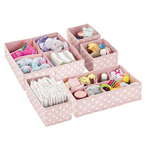 mDesign Juego de 5 cajas organizadoras para el cuarto de los niños – Cajas para almacenar artículos de bebé – Ideales como organizador de juguetes – Cajas con varios compartimentos – rosa claro/blanco