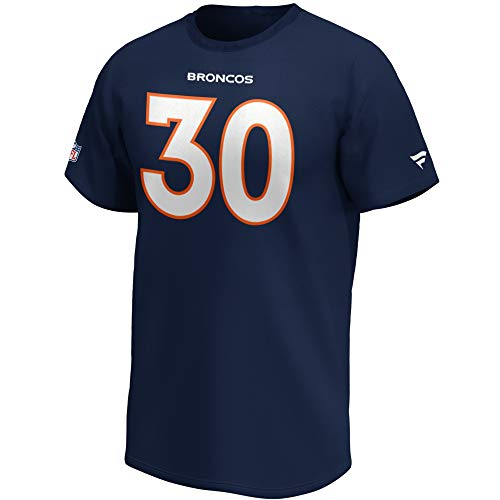Fanatics NFL T-Shirt Denver Broncos Phillip Lindsay #30 Navy Name & Number Trikot Jersey (M)