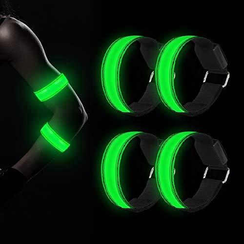 Molbory LED Armband, 4 Stück Reflective LED Leucht Armbänder Lichtband Kinder Nacht Sicherheits Licht Reflektor für Laufen Joggen Running Outdoor Sports