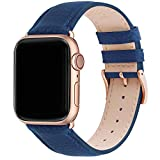Fullmosa Cinturino Apple Watch 42mm/44mm/45mm, LichiBosin Cinturini in Pelle per Apple Watch Serie 7 6 5 4 3 2 1, iWatch, Apple Watch SE, per Uomo e Donna, Blu Scuro + Fibbia Oro Rosa