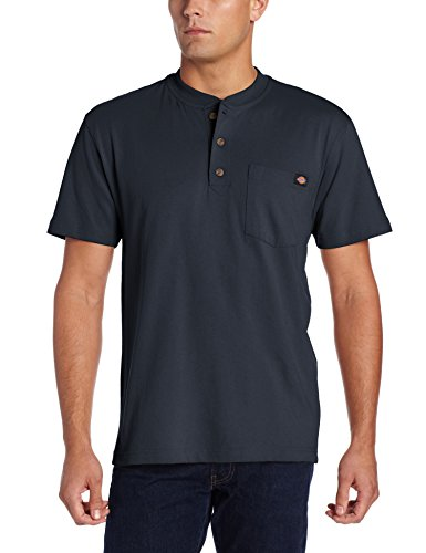 Dickies Men's Heavyweight Henley, Dark Navy, Medium