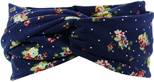 Harrys-Collection Damen Haarband oder Stirnband in 5 Farben mit Blumen, Kopfgröße:Einheitsgröße, Farben:marine