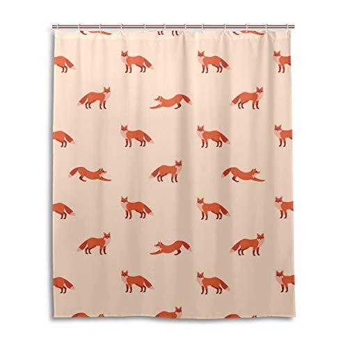 JSTEL Decor Rideau de Douche Motif Renard Rouge Imprimé 100% Polyester 152 x 183 cm