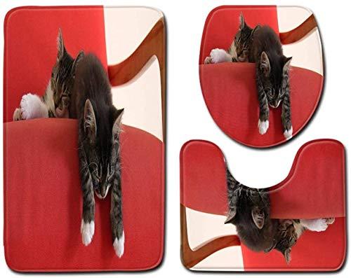 Alfombrillas para bañera Lindo gato rojo corazón pedestal suave anti deslizamiento alfombra de ducha alfombra cubierta de inodoro juego de alfombras de baño no resbalón alfombra de baño de 3 piezas co