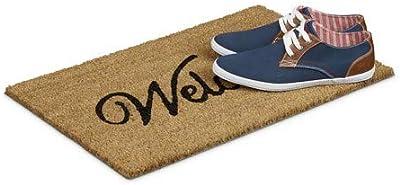 "Relaxdays Coconut Fibre Coir ""Welcome"" Doormat 40 x 60 cm Mat with Anti-Slip PVC Underside, Brown"