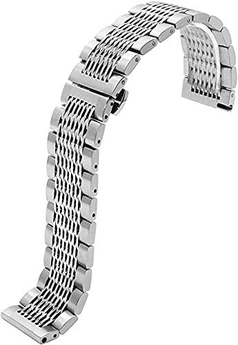 HPTQJ Lanzamiento rápido Banda de Reloj de élite 20 mm 22 mm Malla de Acero Inoxidable Correa de Reloj con Hebilla de Mariposa Silver Black Reemplazo de la muñeca para Hombres Mujeres Regalo cálido