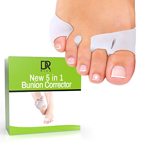 Dr. Rick 5 in 1 Bunion Corrector|Orthopedic Gel Bunion Relief |Big Toe Separator | Alleviates Hammertoe Callus | Gel Metatarsal Pad |Toe Spacers for Diabetic Feet| Blister Protector| Forefoot Pain