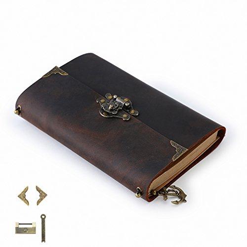 ScrodCat Ledertagebuch, Notizbuch, Schreiben, handgefertigt, ledergebunden, tägliche Notizen, für Männer und Frauen, mit Blanko-Seiten, 19 x 14 cm, Reisetagebuch, mit Schloss L- pferd