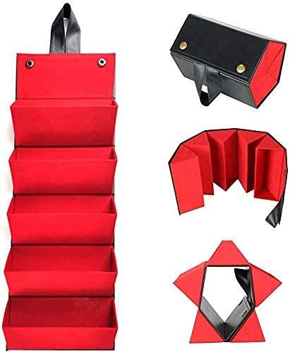 NA - Caja de almacenamiento para gafas, 5 pliegues, plegable, estuche para gafas, caja de embalaje de gafas de sol, color negro y rojo