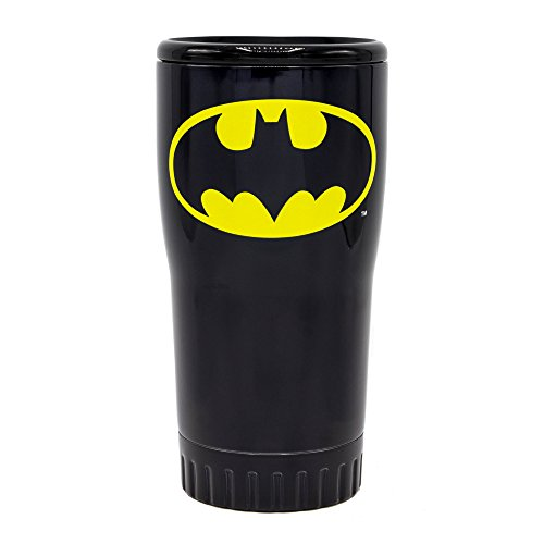 DC Comics Silver Buffalo BN112195 Batman Logo Stainless Steel Double Wall Tumbler, Black, 20-Ounces