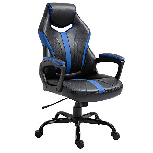 Vinsetto Gaming Chair Swivel Home Office Computer Racing Gamer Desk Chair Faux Leather with Wheels, Black Blue
