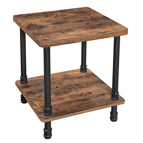 VASAGLE URBENCE Side Table, End Table with 1.2 Inch Thick Tabletop, Easy Assembly, Industrial Accent Table with Iron Pipe Legs, for Living Room, Office, Hallway, Rustic Brown