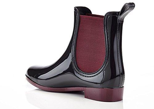 Henry Ferrera Women's Clarity-4 Contrast Ankle Rain Boot,Black/Burgundy (7)
