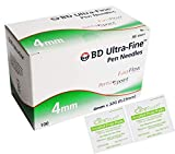[BD] Ultra Fine Pro Pen Needles 4mm x 32g 100ct Bundle with Alcohol Wipes