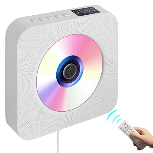 Portable CD Player with Bluetooth,Wall Mountable Wireless CD Music Player Home Audio Boombox with LCD Display,Supports CD Bluetooth FM U Disk SD Card AUX Input & Output(White)