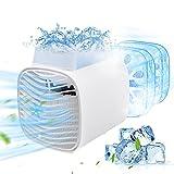 Tragbare Mobile Klimageräte, TESECU Mini Klimaanlage Luftkühler, 4 In1 Air Cooler, USB Luftbefeuchter Wasserkühlung Ventilator mit Eiskristallbox & LED-Licht für Büro und Heim (3 Geschwindigkeiten)