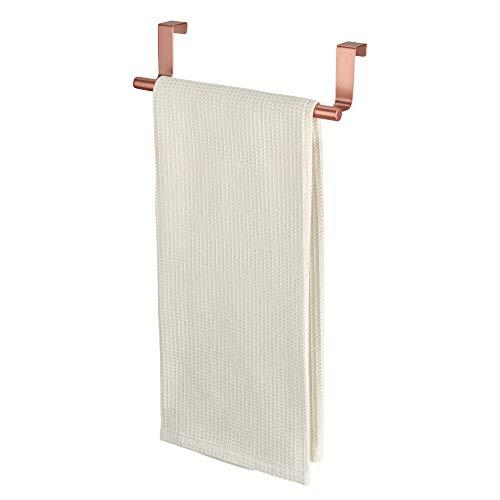 iDesign Barra toallero, pequeño toallero sin taladro de metal para cuarto de baño y aseo, ideal como colgador de paños de cocina, color cobre