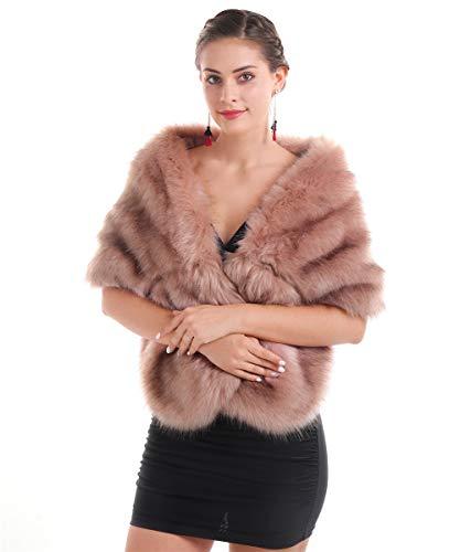 Saferin Chaqueta cuello abrigo bufanda de las mujeres cuello calentador para el abrigo de invierno para fiesta de boda (Chal Rosa)