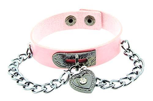 Vrouwelijke armband - vrouw - hart - armband - kunstleer - hart - knop - ketting - rock - steampunk - gothic - punk - roze zilver - kerst - origineel cadeau idee