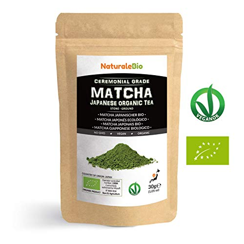 Thé Matcha Bio Japonais (Recharge de 30g). Cérémonie Thé Vert Matcha en Poudre. Matcha Green Tea Produit au Japon Uji, Kyoto. Idéal à Boire, pour Cuisiner et dans le Lait. NATURALEBIO®