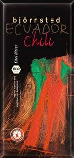 Björnsted Bio Chili Edel Bitter Schokolade, charaktervolles Aroma in wunderbarer Harmonie mit einem unglaublichen Schmelz, feurig-scharfe Note, GROSSFORMATTAFEL, 100g - Bremer Gewürzhandel