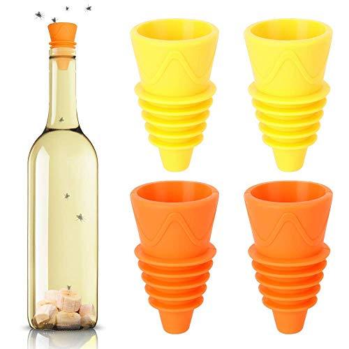Chnaivy 4 Packs Reusable Fruit Fly Traps Fliegenfänger für Zuhause, Küche, Innen- und Außenbereich, zur Anziehung von Insekten und Schädlingen, 4 Packungen