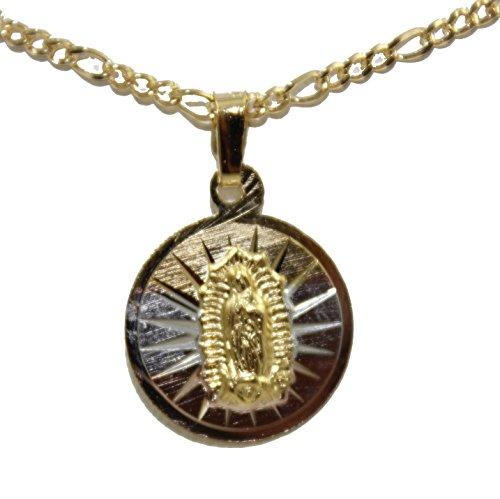 Diamantados of Florida Virgen de Guadalupe Medalla-Nuestra señora de Guadalaupe Medalla Chapado en Oro de 14K Tres Tono Oro Redondo Colgante con Cadena de 18Pulgadas