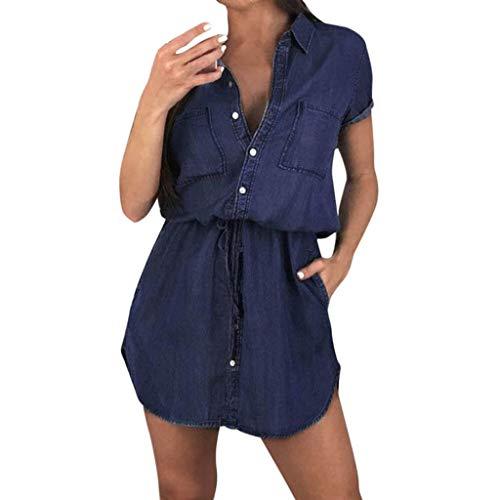 ReooLy Camisa de Manga Corta de Las Mujeres Vestido de Verano botón Informal Mini Novio