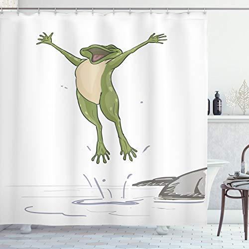 ABAKUHAUS Frosch Duschvorhang, Glücklicher Springender Kröten-Spaß, mit 12 Ringe Set Wasserdicht Stielvoll Modern Farbfest und Schimmel Resistent, 175x200 cm, Olivengrün Grau