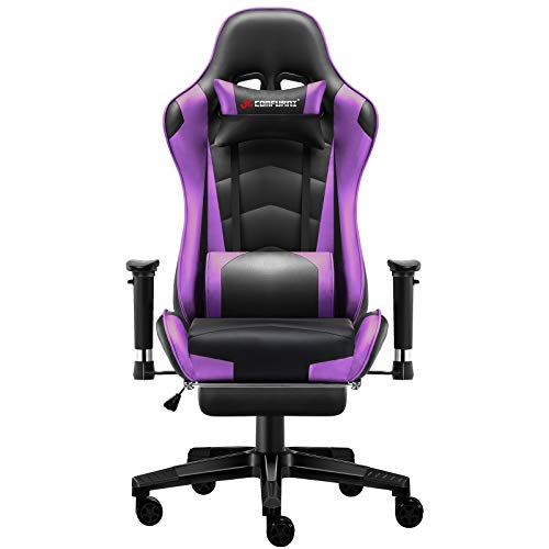JL Comfurni Gaming Chair Office Desk Chair Ergonomic Swivel PC Computer Chairs with Footrest Heavy Duty Recliner (Purple)