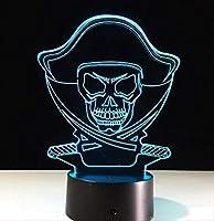 3D Ledカラーナイトライト変更ランプハロウィンスカルライトアクリル3Dイリュージョンデスクランプキッズギフト