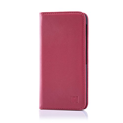 32nd Classic Series - Real Leather Book Wallet Case Cover for BlackBerry DTEK60, Real Leather Design with Card Slot, Magnetic Closure and Built in Stand - Rose Pink
