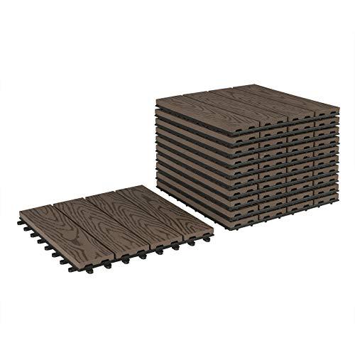 Lestarain Terrassenfliesen Balkonfliesen wpc, Holzfliesen balkon 30x30, Klicksystem für Balkon Garten, Holzoptik, 44 Stücke für 4m²