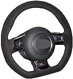LDJTO Cubierta de Volante de Gamuza Suave para Coche Cosida a Mano, para Audi A3 S3 (8P) Sportback 2008-2012 R8 (42) TT TTS (8J) 2006-2014-red_Line