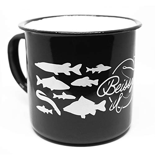 HECHTTAG Angeln Emaille Tasse Beisszeit Becher Geschenk für Angler Pott