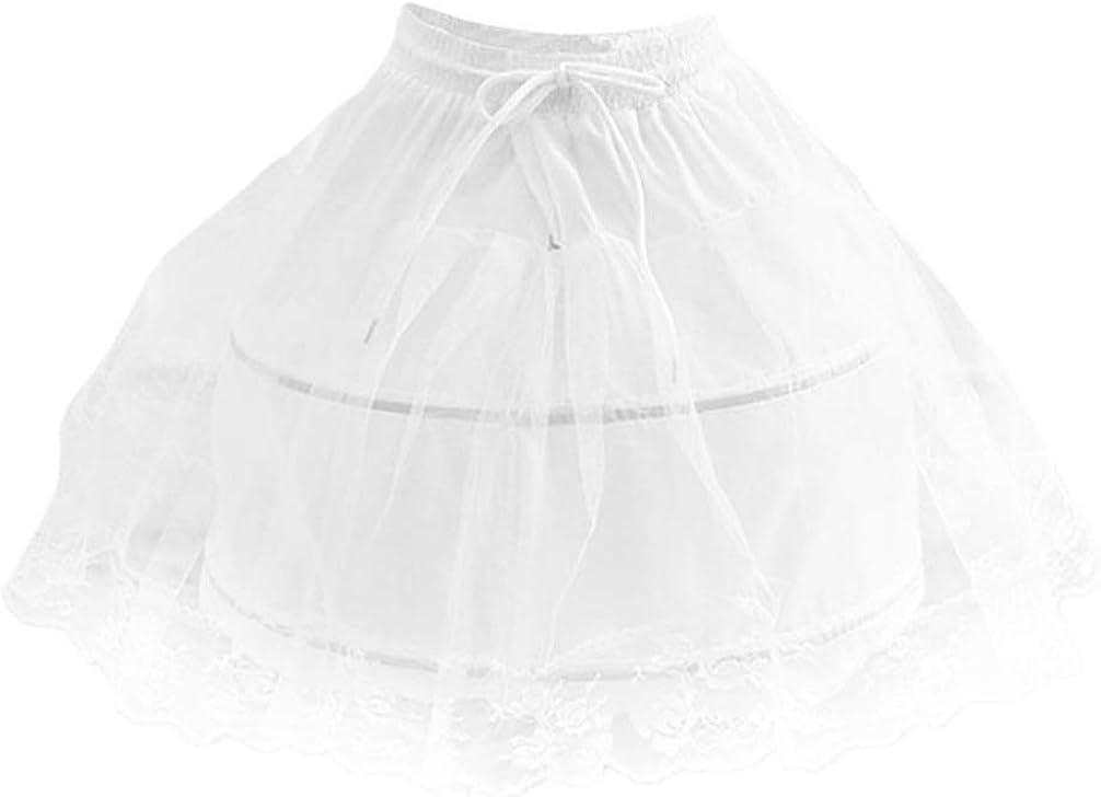 KESYOO Girls Hoop Petticoat Short Crinoline Underskirt Lace Underskirt White Short Petticoat for Children Girls Wedding (White)